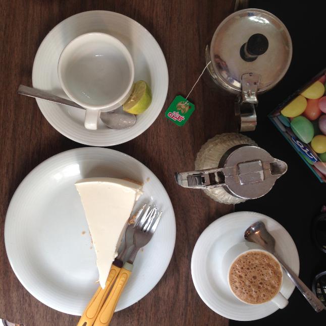 Tea, coffee and cheesecake at Naderi Café in Central Tehran