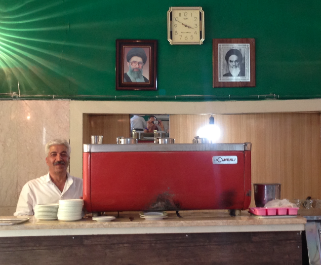 The espresso machine under the zealous watch of the Ayatollahs.