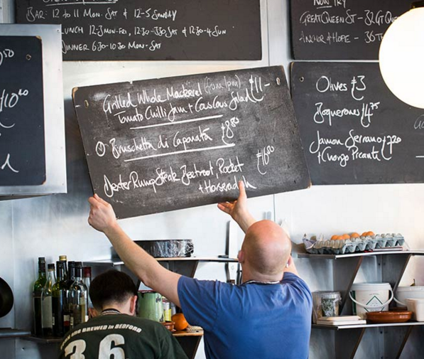Image from The Eagle's website – menu changes daily according to what was fresh in the market