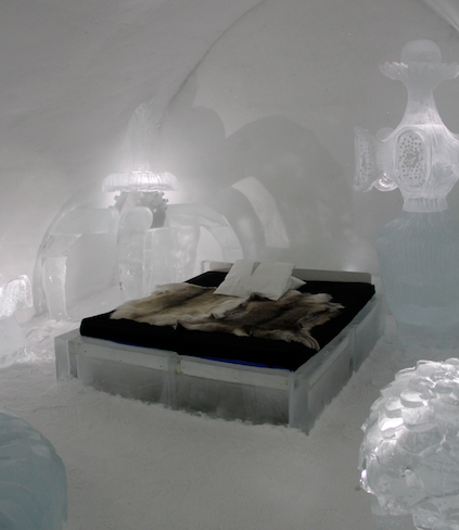 An artsy room at the Ice Hotel in Sweden