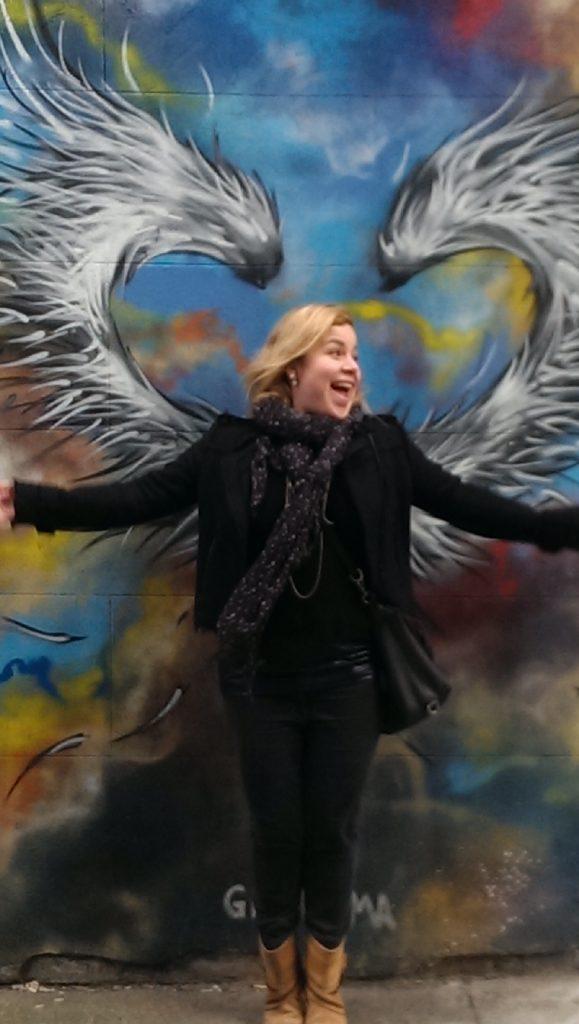 Graffiti in East London with (angel) Lulu Mazzocco