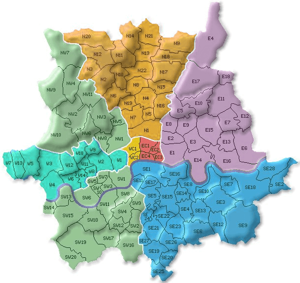 London Postcodes - image from web