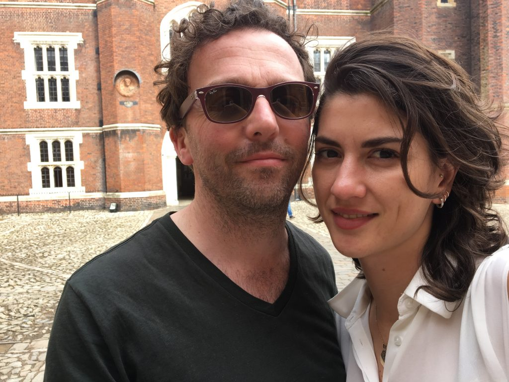Giovana and her husband Daniel at Hampton Court Palace, in South London